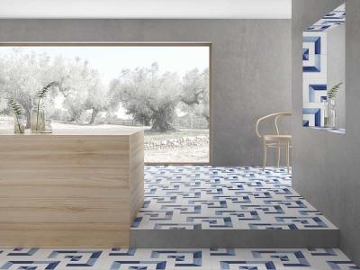堅磁歐洲磁磚 藍黛-地毯花磚