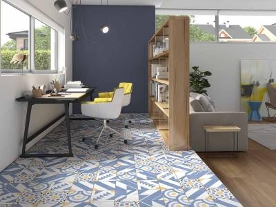 堅磁歐洲磁磚 波多藍-地毯花磚