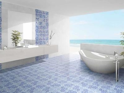 堅磁歐洲磁磚 藍色情挑-隨機花磚